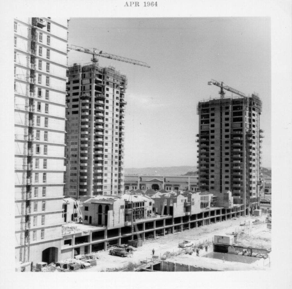 Construction of Golden Gateway Development project, April 1964. Credit: SAN FRANCISCO HISTORY CENTER, SAN FRANCISCO PUBLIC LIBRARY